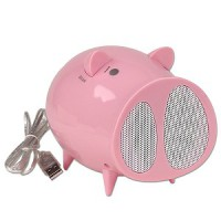 Pig Shaped Fun Speakers and Fm radio . (Black and White colors)