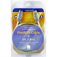 Gold X Firewire cable 6Feet connectors : 6 pin to 6 pin shielding foil and Braid .pc to pc