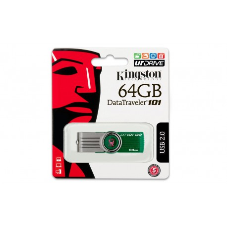 64GB  Kingston Digital DataTraveler 101 G2 USB 2.0 Drive - Green
