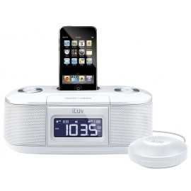 iLuv Vibro I Bed Shaker 30-Pin iPod/iPhone Alarm Clock Speaker Dock (White)