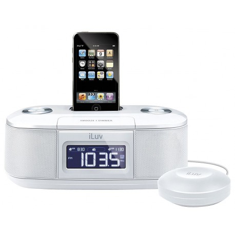 iLuv Vibro I Bed Shaker 30-Pin iPod/iPhone Alarm Clock Speaker Dock (White)